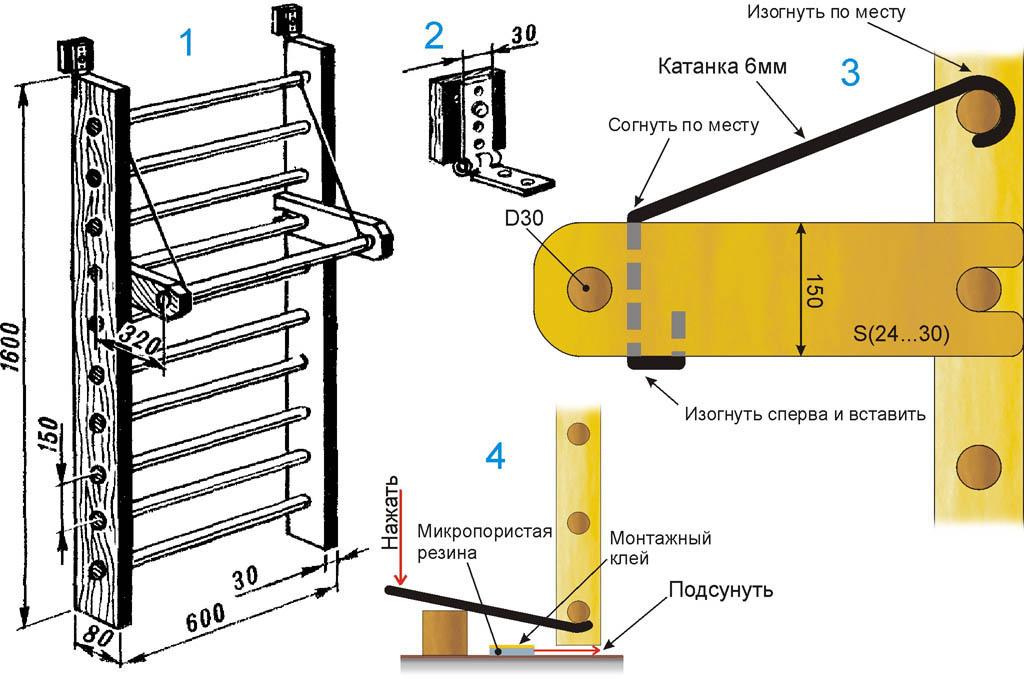 Балалардың швед қабырғасының сызбалары кеңістіктегі екі нүктемен бекітілген