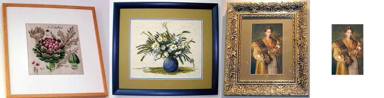 Exemples de peintures dans des cadres avec cadrage interne