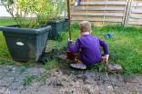 Die Kinder gestalten den Garten neu, ich bin mir noch nicht sicher, ob ich das toll finde