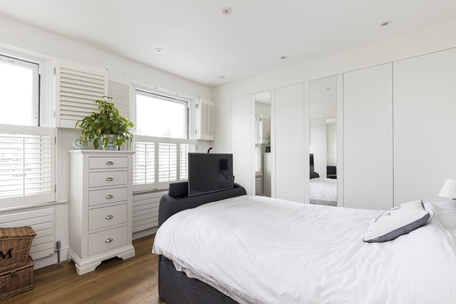 0605 master bedroom bed with builtin tv fitted wardrobes with mirrors