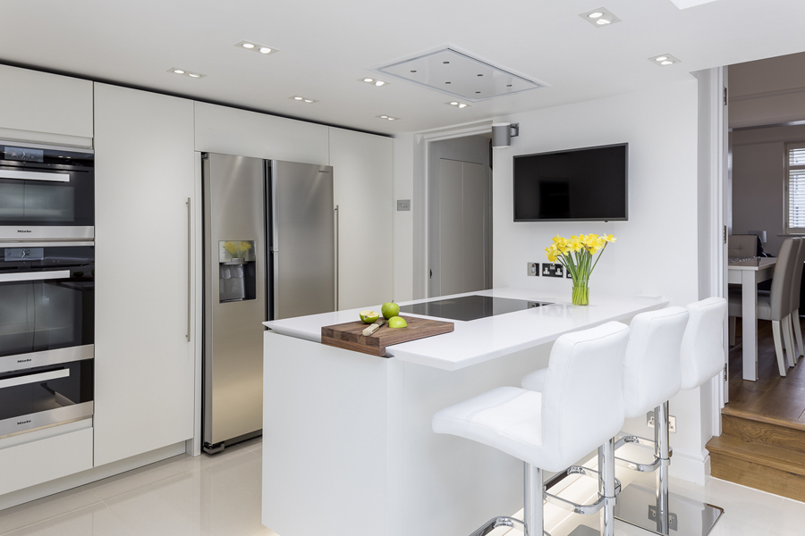0605 white high gloss kitchen by roundhouse and leather bar stools