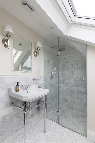 0631 marble tiles shower in loft under roof in london