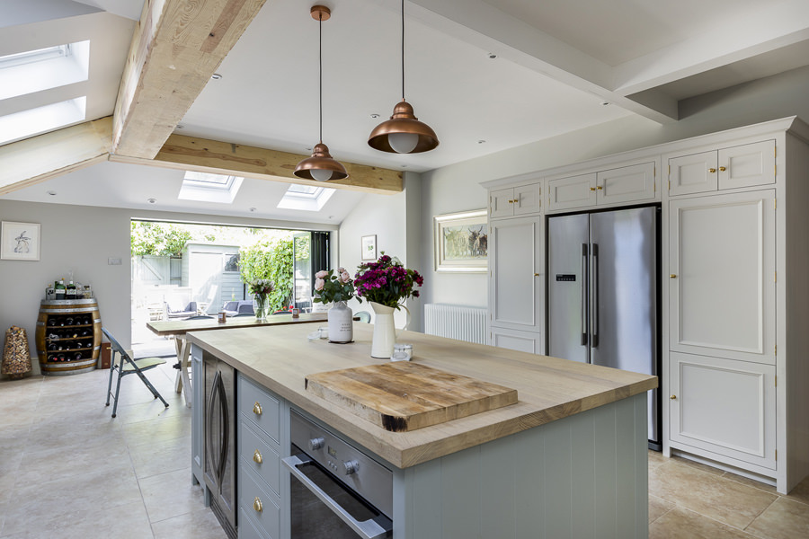 647 neptune shaker kitchen in moss and white with copper lights in chiswick