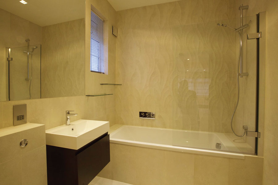 Bathroom with beige wavy tiles in St Johns Wood NW8 London