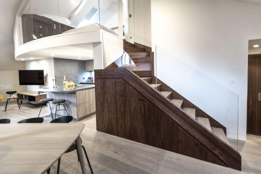 0244-Abbey-Road-church-conversion-penthouse-vorbild-architecture-mezzanine-master-bedroom-kitchen