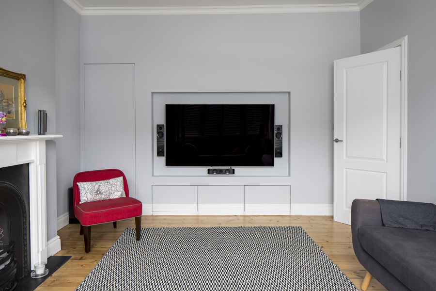 0557 TV wall with built in media unit and concealed storage in wimbledon