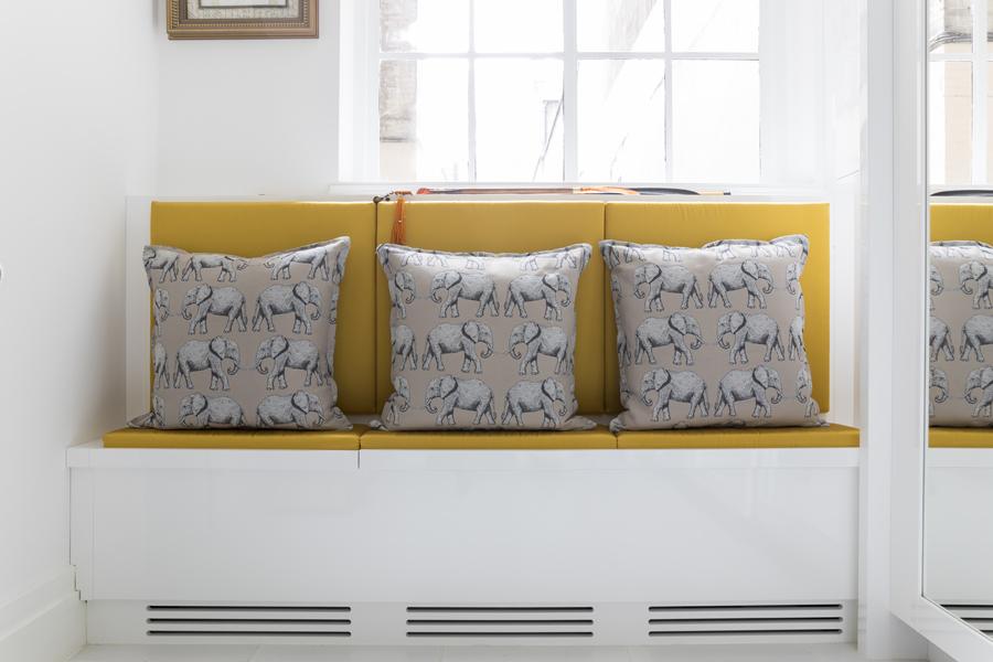0587 yellow window seat with white high gloss base
