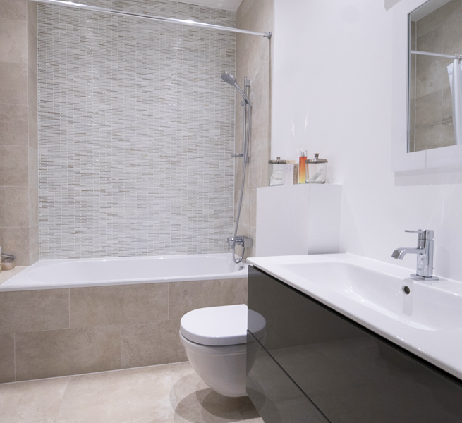 0736 bathroom fired earth beige tiles and mosaic wall