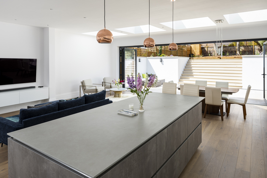 0776 large grey kitchen island with copper pendant lights in london nw6 vorbild architecture