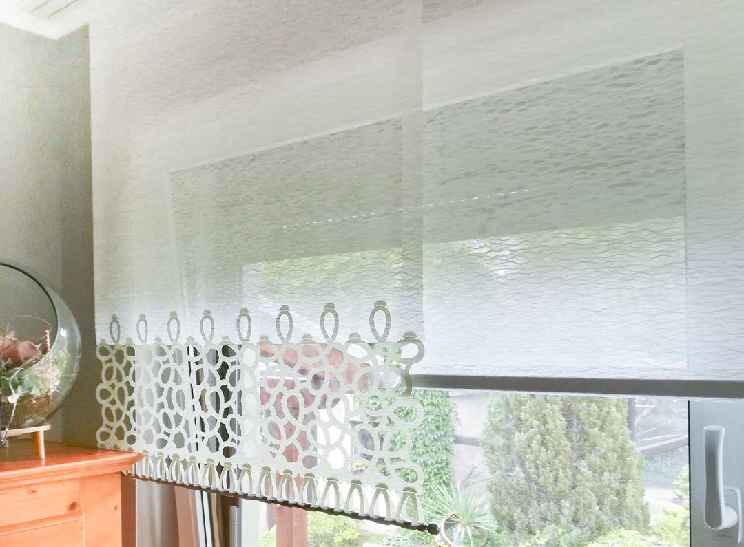 Flächenvorhang Lasercut 80 cm breit Kundenfoto Variante München