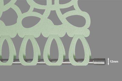 Edelstahlprofil mit Zierstück für oben und unten 12mm