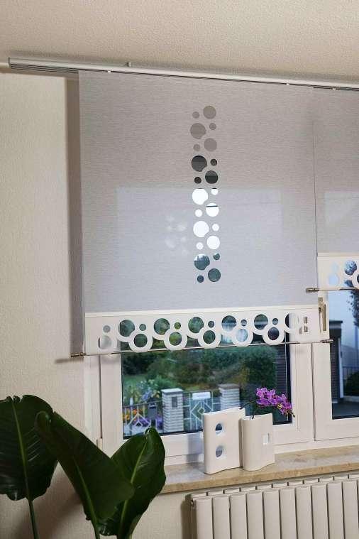 Flächenvorhang Kombicut Lasercut Variante Gera ,Stoffart CURTIS granit ,Mustertextil CURTIS white, Muster VAN