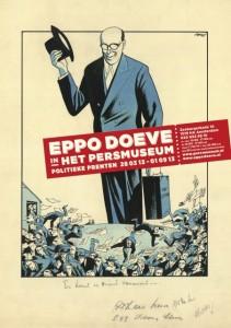Aankondiging van de tentoonstelling over Eppo Doeves politieke prenten over de crisis in het Persmuseum