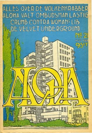 Cover van ALOHA, 11 februari, 1972. Editie over De Wolkenkrabber, ontwerp van Piet Schreuders.
