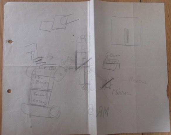 Schets van een 'spiekapparaat' (auto-cue). Privé-archief Jan van der Does