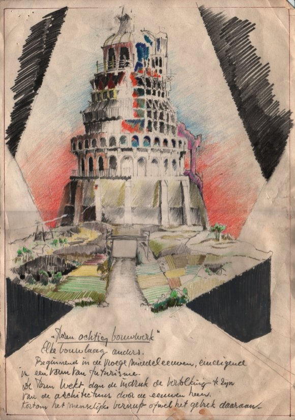 De toren van Babel (EO, 1983), decor Henk Tilder ism Richard Heidentrijk en Tijmen de Bree. Collectie Henk Tilder