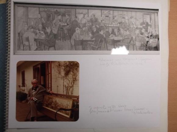 Illustratie van vele roemruchte figuren in Scheltema. Op de fot onder zit Weynand voor het bankje in zijn huis in Heino. Waar het schilderij is gebleven is mij niet bekend.