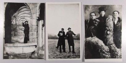 Foto's van Weynand en Bert Nienhuis in Berlijn, omstreeks 1930. De foto rechts is genomen op 28 december 1928 in een fotostudio in de Amsterdamse Kalverstraat. Volgens opschrift zien we vlnr: Grijzen, Bert Nienhuis en Henk (Kees) Niegeman. Mogelijk is dit Johan Niegeman of familie van hem.