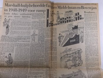 Pagina vol geillustreerde infographics, Financieel Dagblad 2 april 1949
