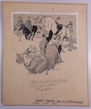 Paard wil niet wat jij wilt? Blijf kalm, neem 'n Duskin. Laatste tekening voor het sigarette merk gemaakt op 9 mei 1940. De schets is niet meer uitgevoerd door het uitbreken vande oorlog.