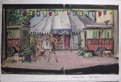 Volgens de Theaterecyclopedie is het decorontwerp voor Circus Knie in 1933, met om Aaf Bouber van Albert van Dalsum (http://www.eenlevenlangtheater.nl/albert%20van%20dalsum/repertoire/toneel/amsterdamsche%20tooneelvereeniging%20/3425.html), 1933. Wellicht assisteerde Grijzen of tekende hij het decor na.