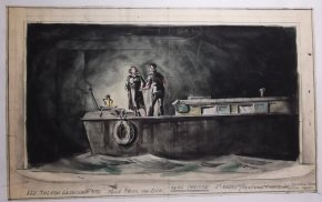 Decorontwerp voor het tweede bedrijf van Anna Christie, 1954. De kajuit-wand is afneembaar.