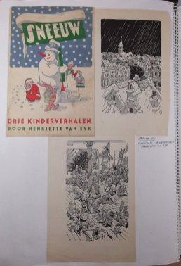 Omslag en illustraties voor een kinderboek van Henriette van Eyk uitgegeven bij de Bezige Bij, 1945