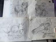 Ronald Vierbergen heeft nog fantastisch artwork voor 'zijn' NOS Studio Sport leader, zoals deze storyboard-schetsen