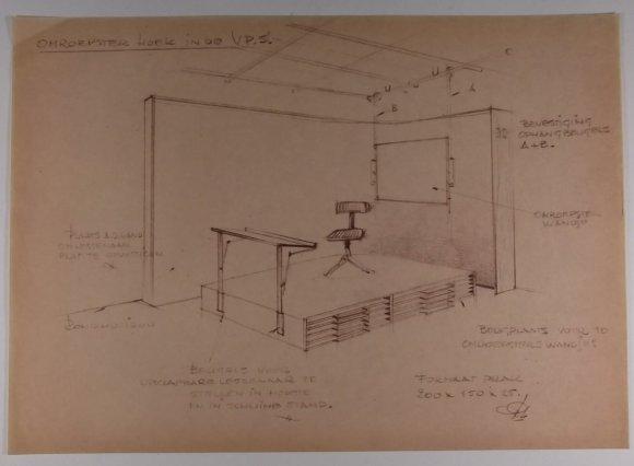 Omroepstershoek in de VPS, ontwerp Peter Zwart. Collectie Beeld en Geluid