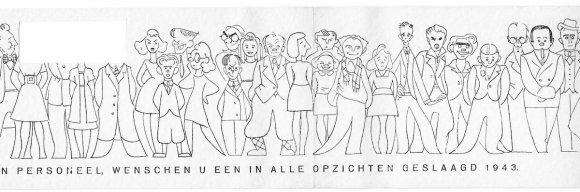 Verhuisbericht Toonder-Geesink ca 1943 Nic van Baarle staat bijna in midden met geruite sjaal, Miep staat links van hem. Collectie erven Van Baarle