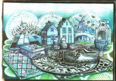 Decorontwerp 1-2-3 show: Delfts blauw (KRO, 22-1-1985), decor Roland de Groot. Collectie Roland de Groot