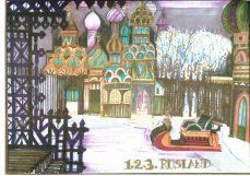Decorontwerp 1-2-3 show: Rusland (KRO, 13-12-1985), decor Roland de Groot. Collectie Roland de Groot