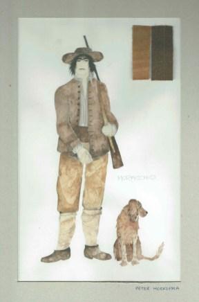 Kostuumontwerp voor Moracchio uit De Waaier (Haagse Comedie, 1977). Ontwerp Hans Christiaan. Bron: Marjolein Sligte