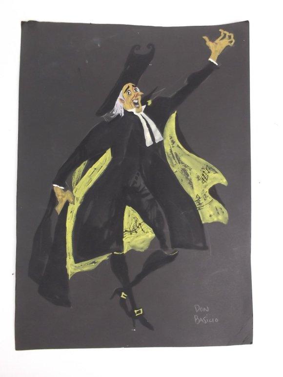 kostuumontwerp Don Basilio (Barbier van Sevilla), titel en uitzenddatum onbekend (ca 1970), ontwerp Wim Bijmoer, collectie Beeld en Geluid