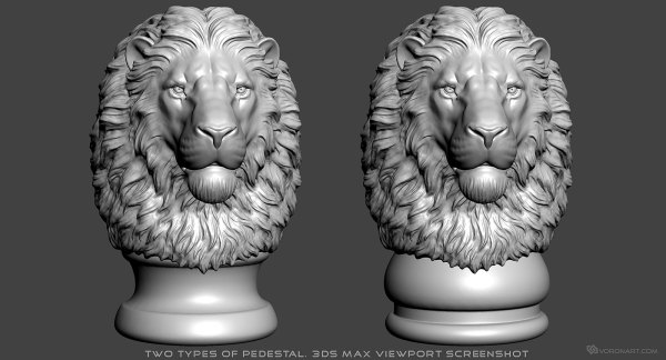 Lion Head 3d Model. Digital Sculpture. Stl Obj Files