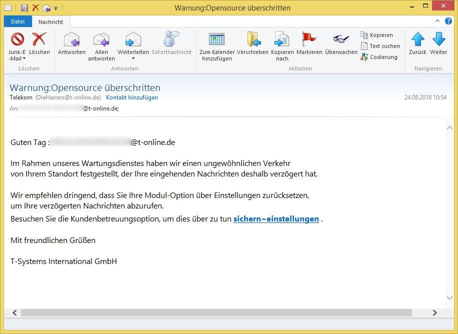 Warnung:Opensource überschritten von Telekom (DieHarrers@t-online.de oder Elke-Maleszka@t-online.de) ist Phishing! – Vorsicht E-Mail