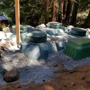 Tank placements with aggregate backfill for drainage