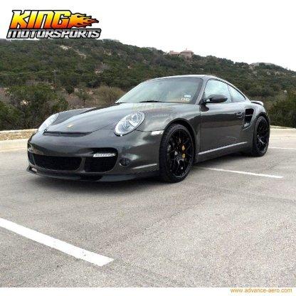Fit For 06-12 Porsche 997 OE Style Front Bumper Lip Unpainted Black- PU