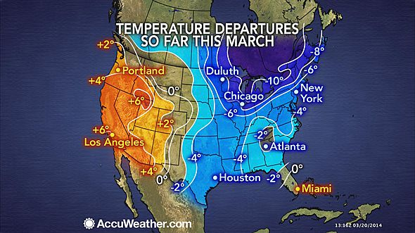 March temp anomalies US 2014