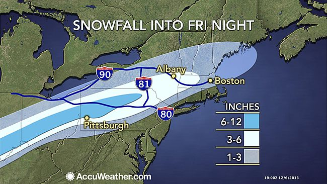 snow forecast for east USA 11 th dec 2012