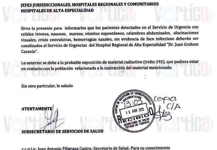Circula oficio para hospitales tras robo de material radiactivo