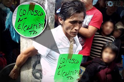 Amarran y exhiben a presunto ladrón en San Cristóbal