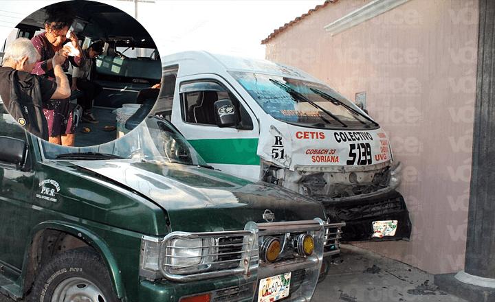 Colectivazo deja seis pasajeros heridos en Tuxtla