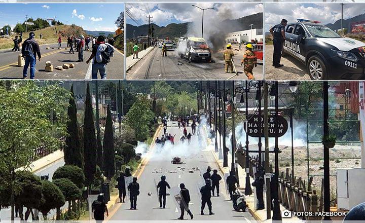 ¡Caos en San Cristóbal! Continúan enfrentamientos entre maestros y policías