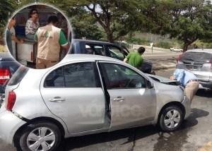 Carambolazo de cuatro vehículos deja dos lesionados