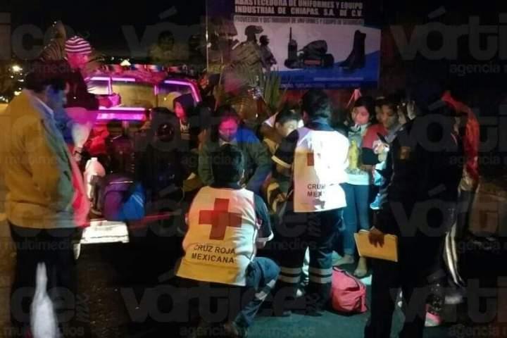 Noche accidentada en Tuxtla deja 10 peregrinos heridos