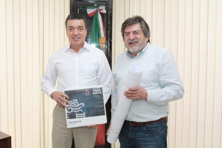 Gobernador de Chiapas y titular de Fonatur evalúan avances en el proyecto del Tren Maya