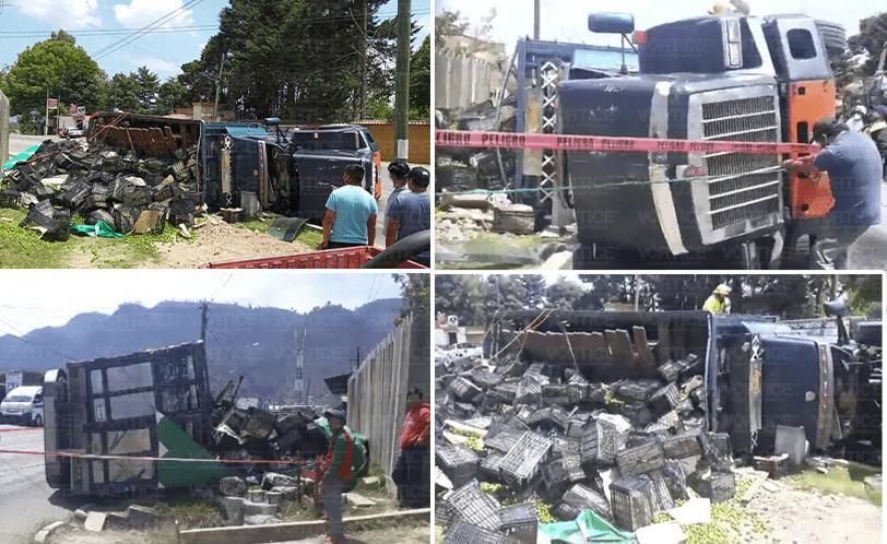 Vuelca camión tortón tras vencerse en una curva en San Cristóbal