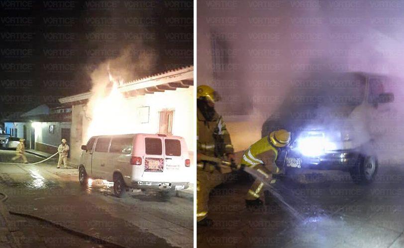 Arde furgoneta en pleno centro de San Cristóbal
