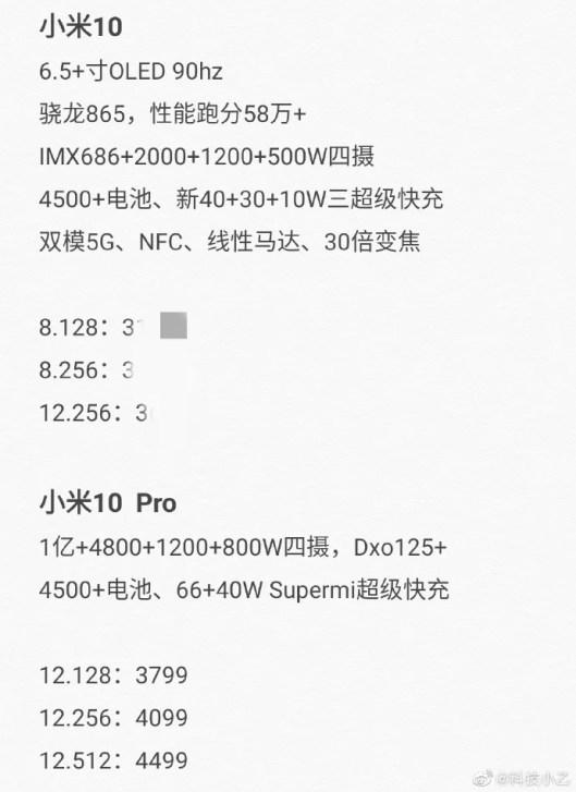 Parametre Xiaomi Mi 10 a Mi 10 Pro
